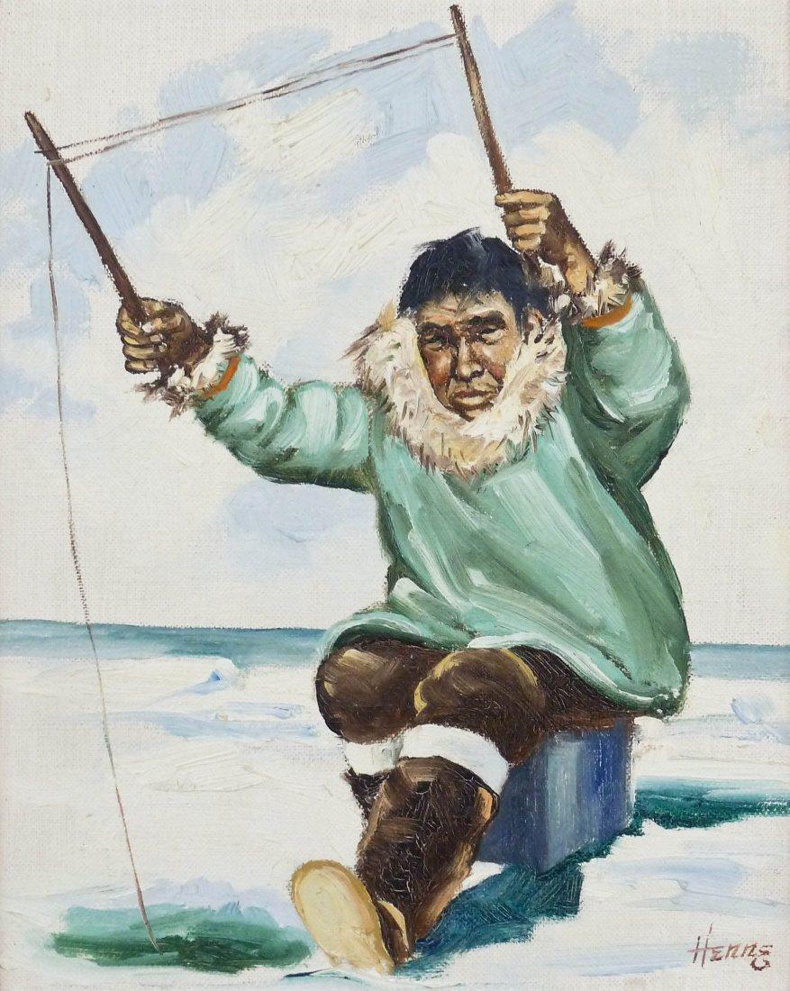 Ellen Goodale (1915-1991 Alaska) Two Eskimo Scenes Oil - 2