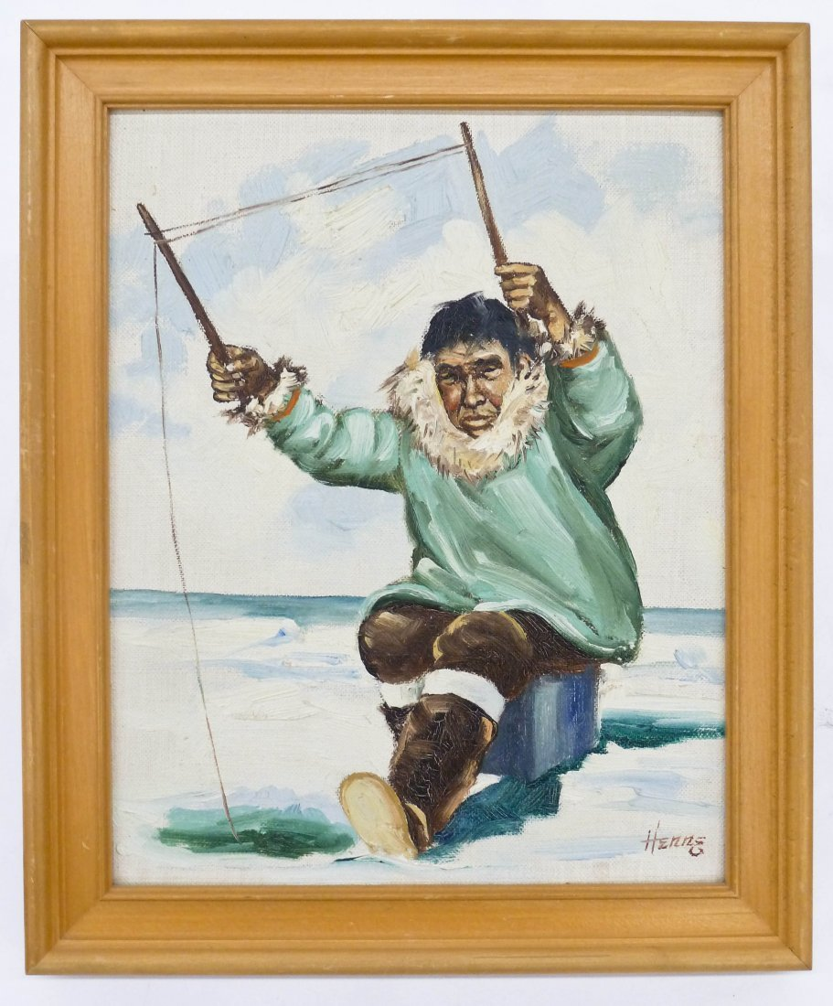 Ellen Goodale (1915-1991 Alaska) Two Eskimo Scenes Oil - 4