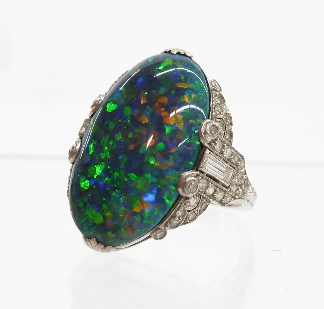 Brock & Co. Lady's Black Opal Platinum Art Deco Ring