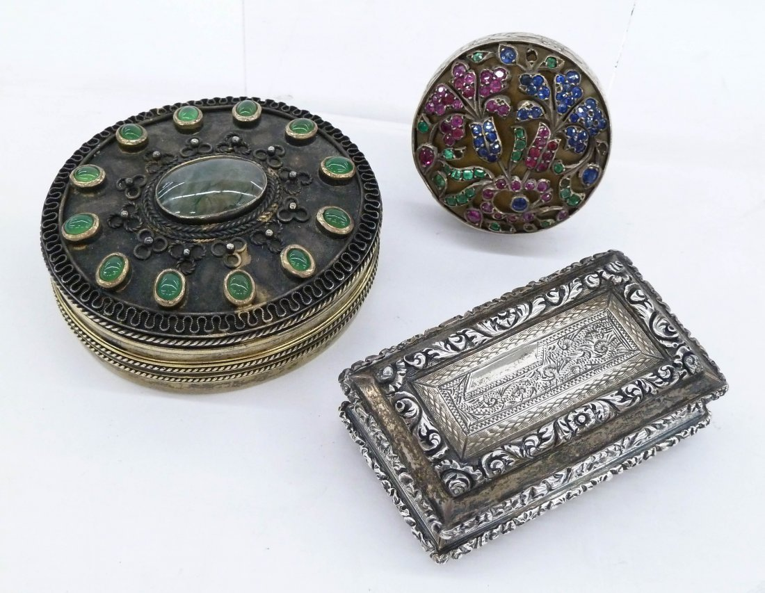 3pc Antique European Silver Miniature Boxes. Includes a