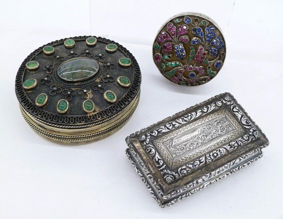 3pc Antique European Silver Miniature Boxes. Includes a