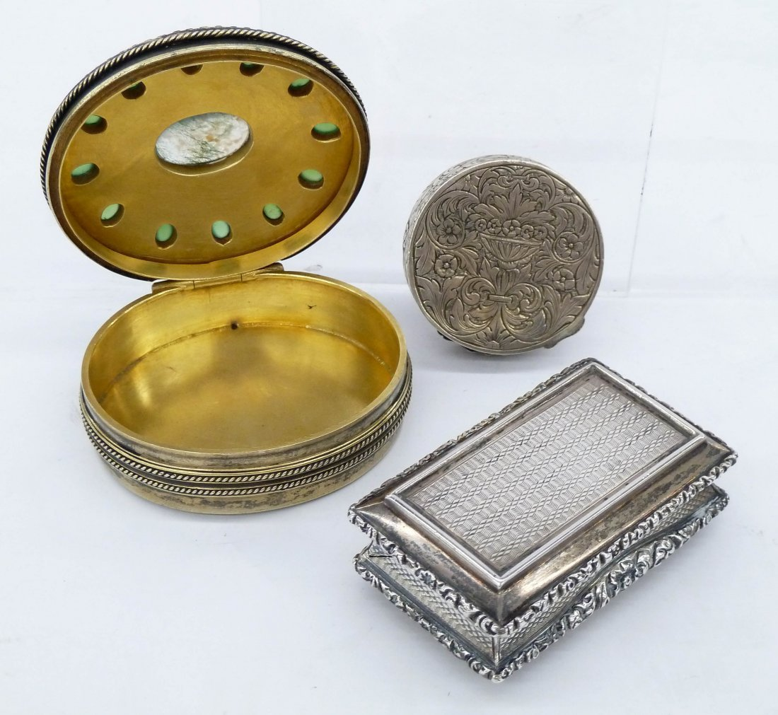3pc Antique European Silver Miniature Boxes. Includes a - 2