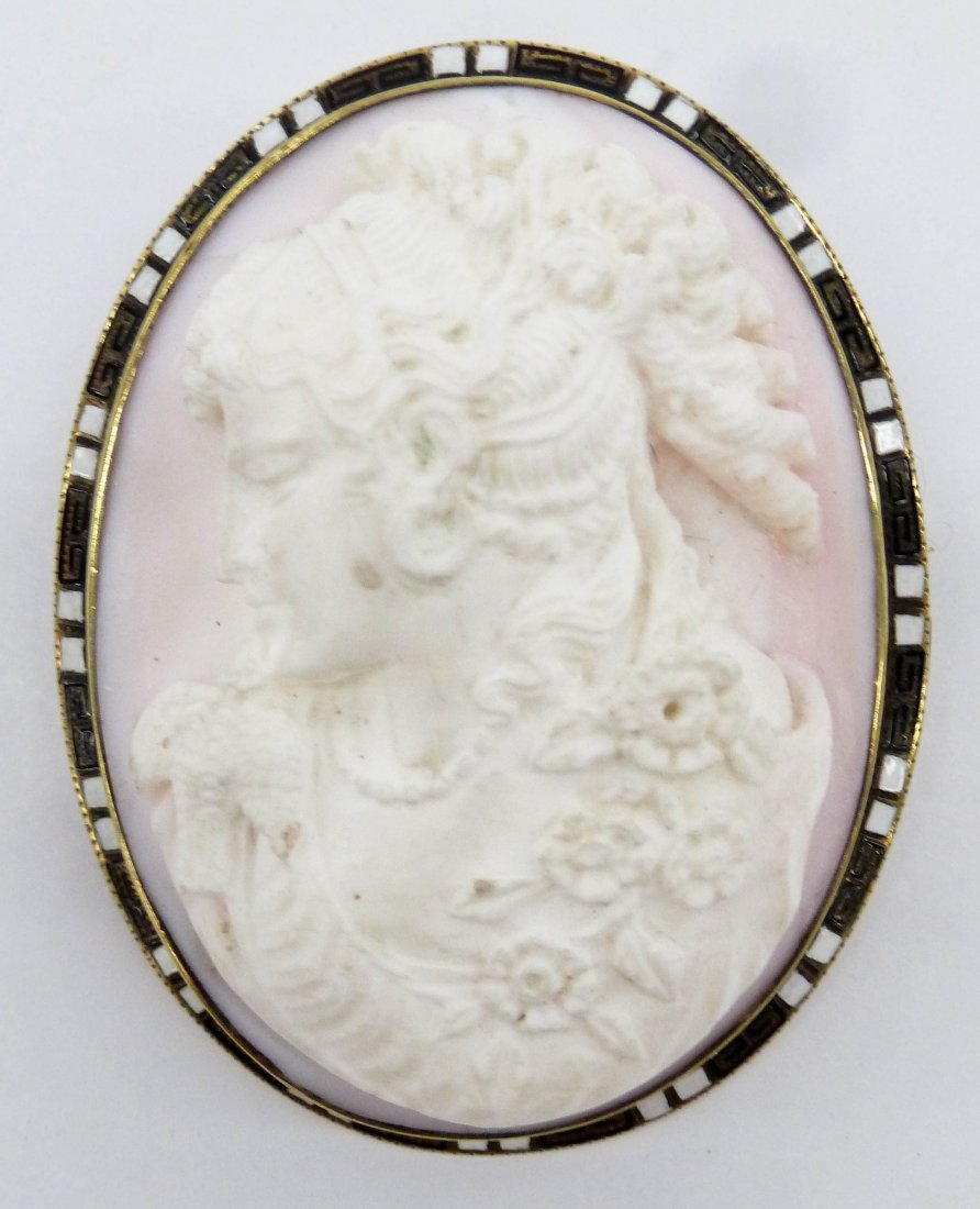 Victorian 14k Carved Cameo Brooch 2.25''x1.75''. A deep