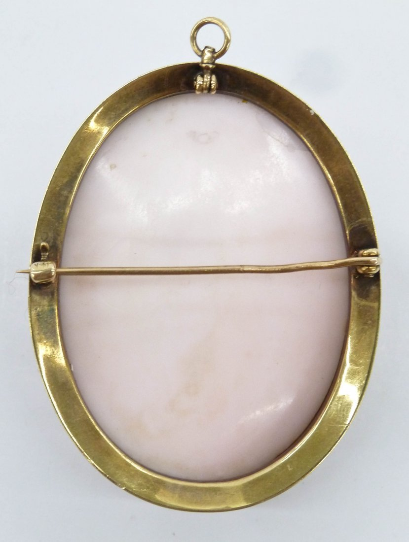 Victorian 14k Carved Cameo Brooch 2.25''x1.75''. A deep - 3