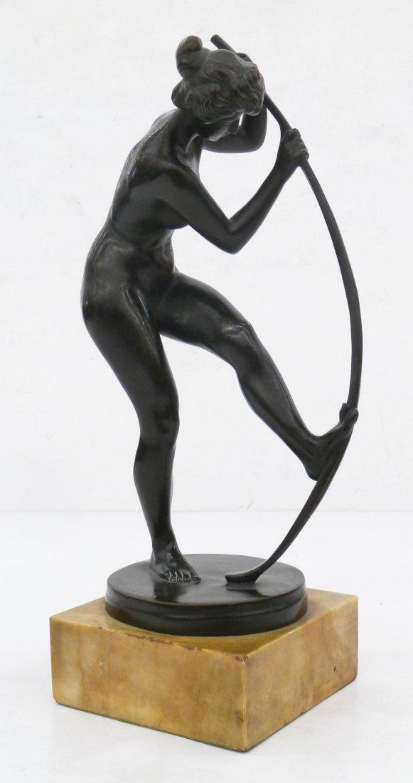 Hubert Netzer (b.1865 German) Nude with Bow Bronze - 2