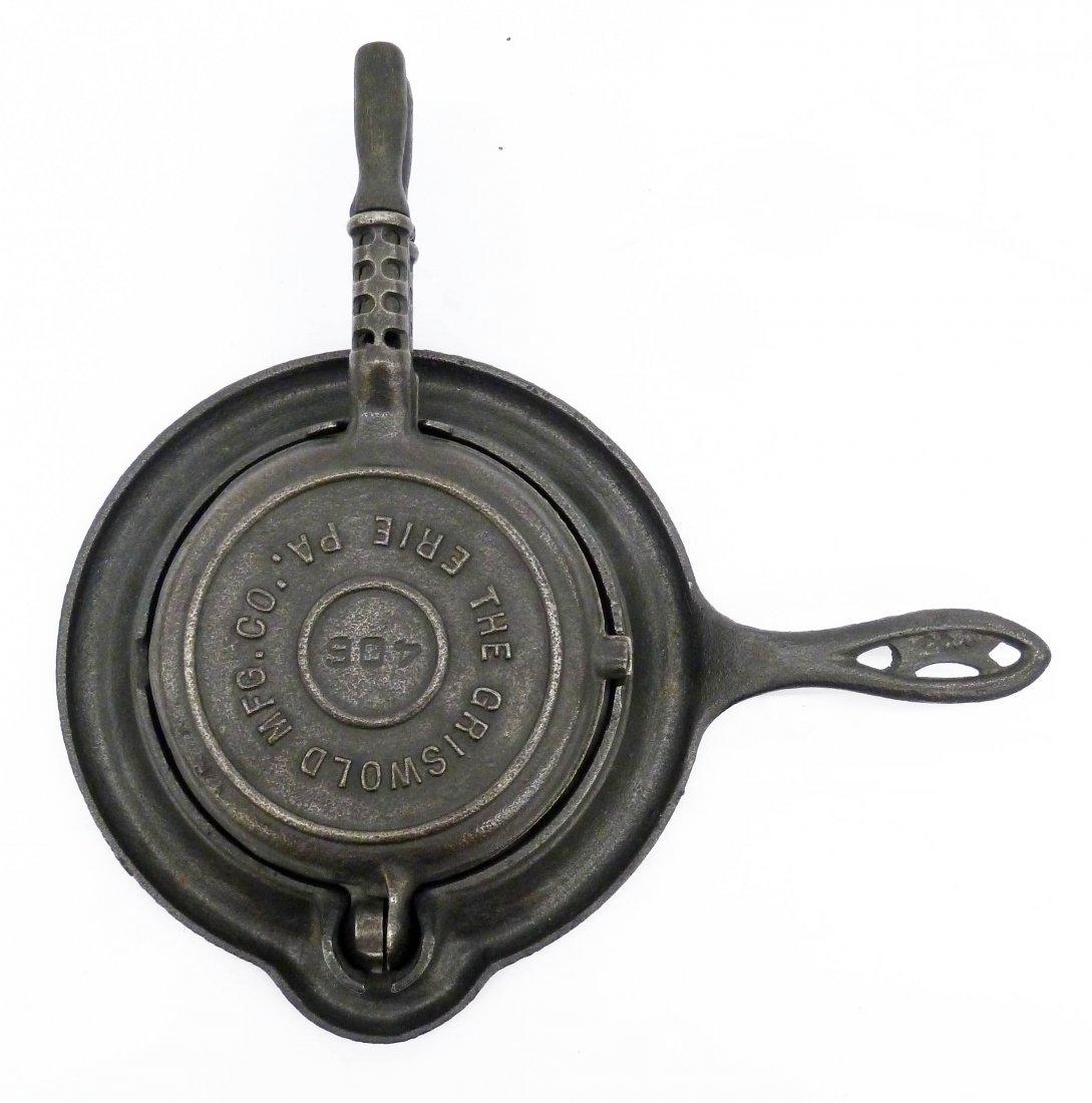 A Rare Griswold 406 Cast Iron Miniature Waffle Iron - 3