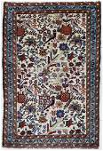 Semi Antique Persian Oriental Scatter Rug with Birds