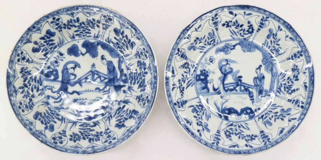Pair Antique Chinese Blue & White Porcelain Plates