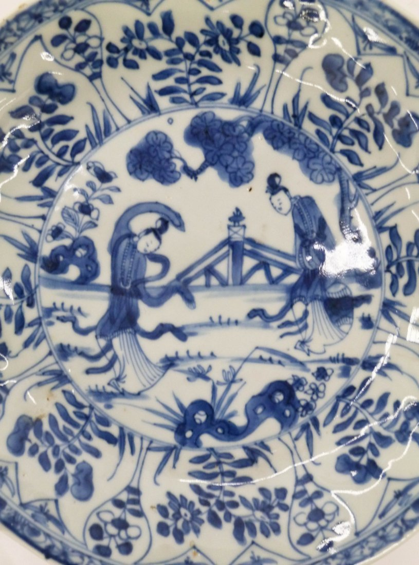 Pair Antique Chinese Blue & White Porcelain Plates - 3