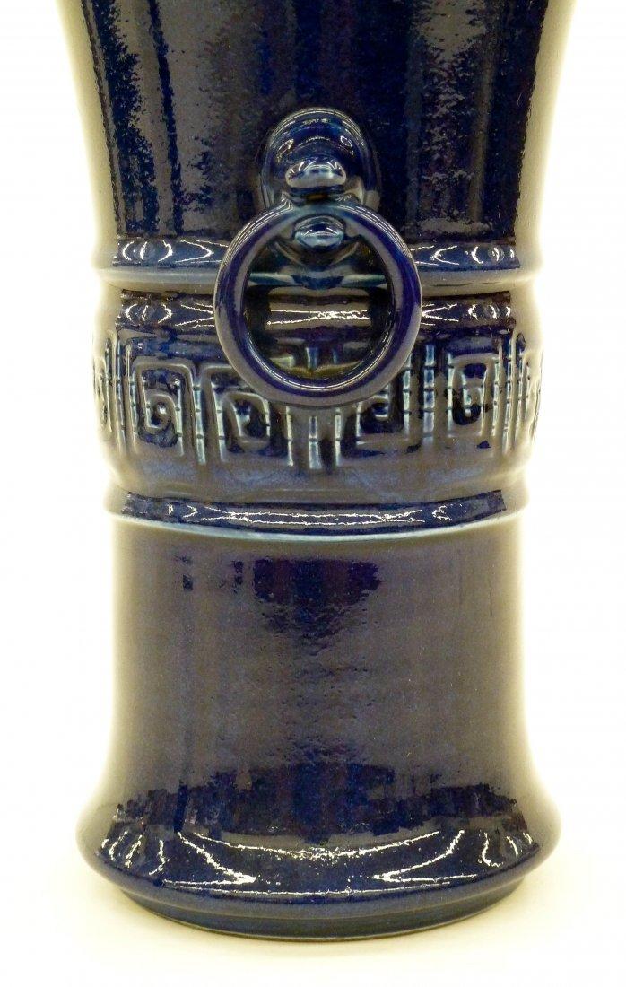 Antique Chinese Cobalt Monochrome Porcelain Beaker Vase - 2