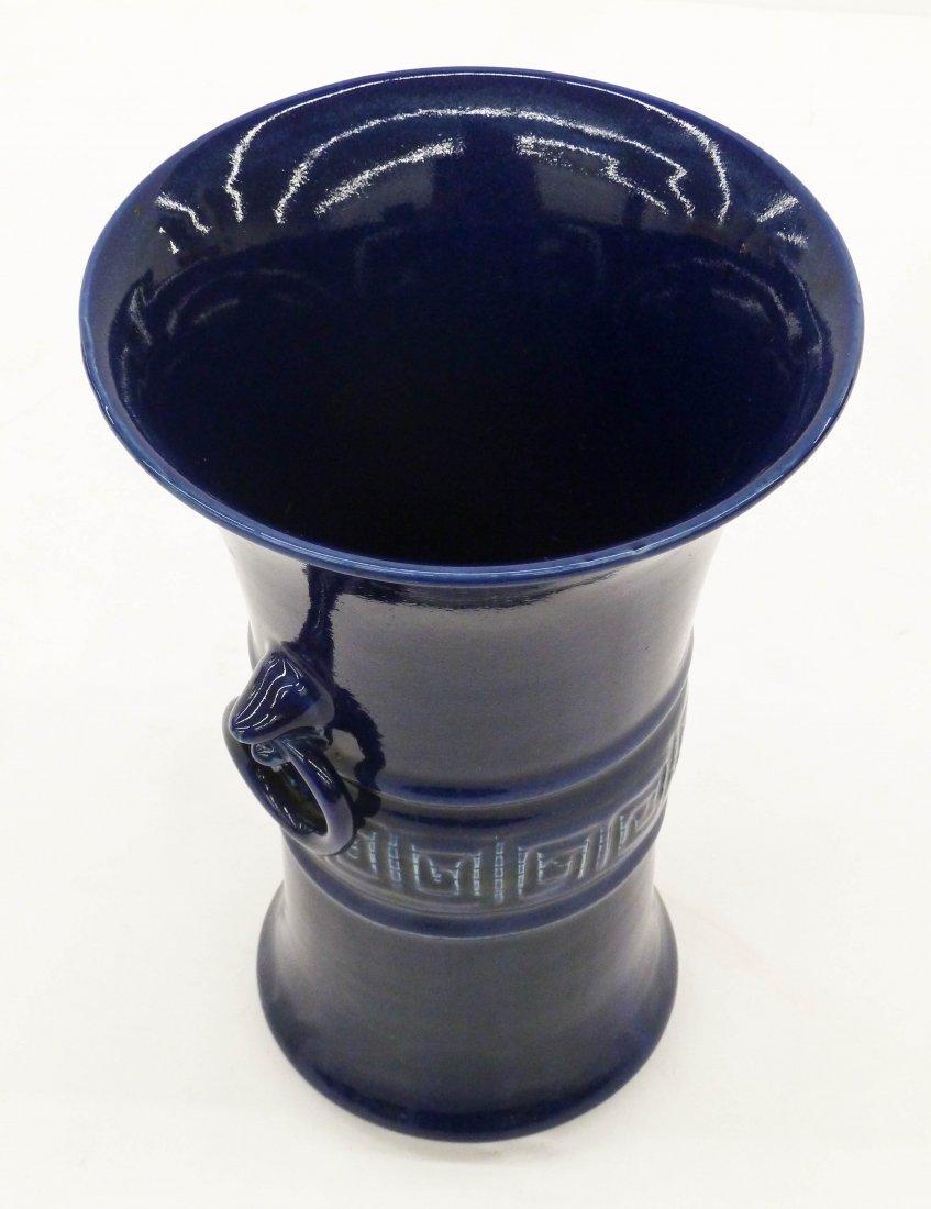 Antique Chinese Cobalt Monochrome Porcelain Beaker Vase - 3