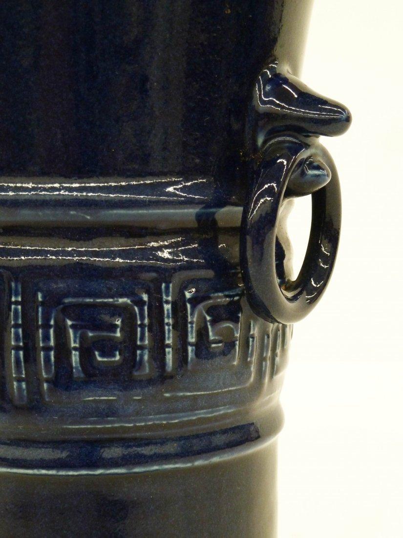 Antique Chinese Cobalt Monochrome Porcelain Beaker Vase - 4