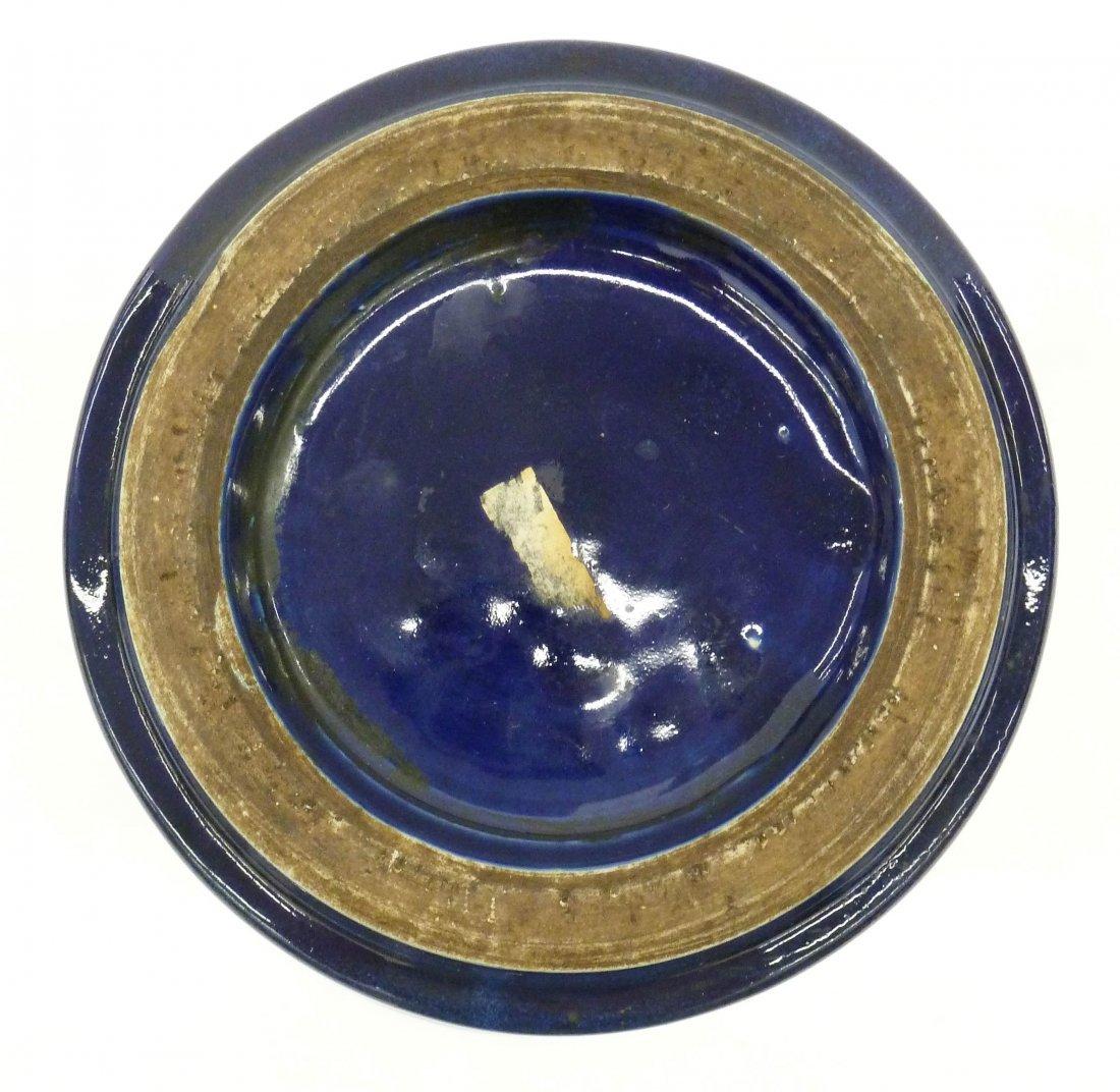 Antique Chinese Cobalt Monochrome Porcelain Beaker Vase - 6