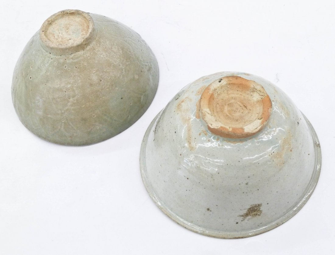 2pc Ancient Korean Ceramic Bowls. Includes a celadon - 2