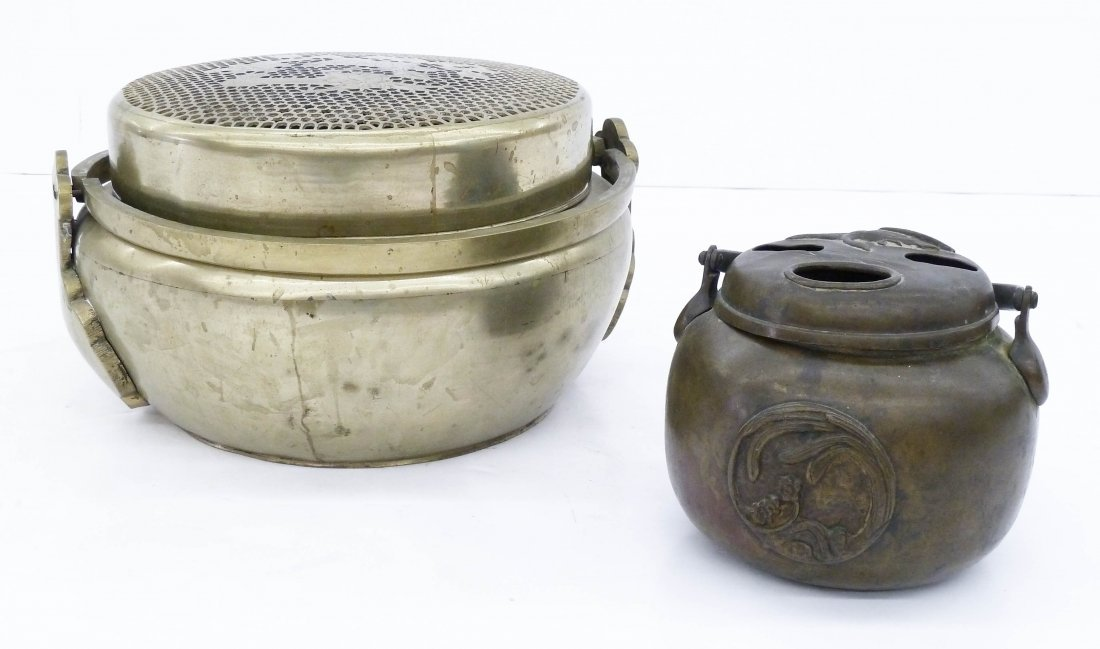 2pc Antique Asian Metal Hand Warmers. Includes a large