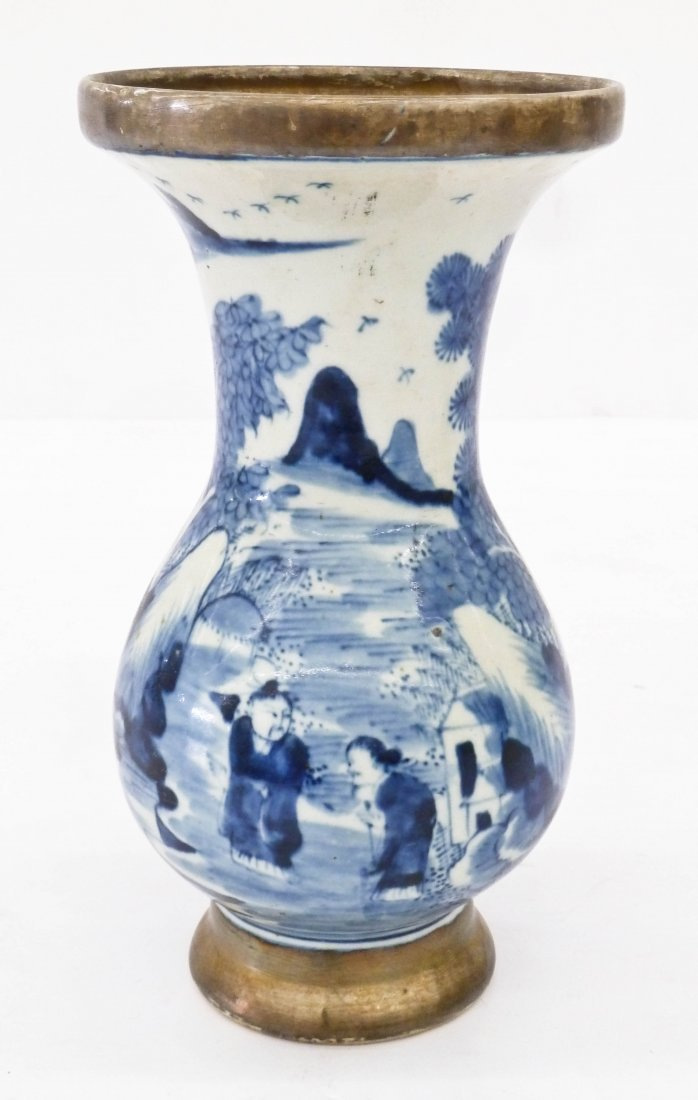 Old Chinese Silver Overlay Blue & White Porcelain Vase