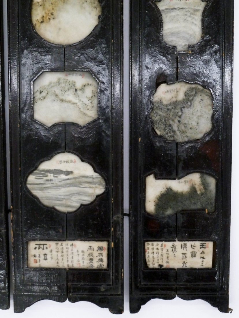 Antique Chinese Five Panel Table Screen with Marble - 4