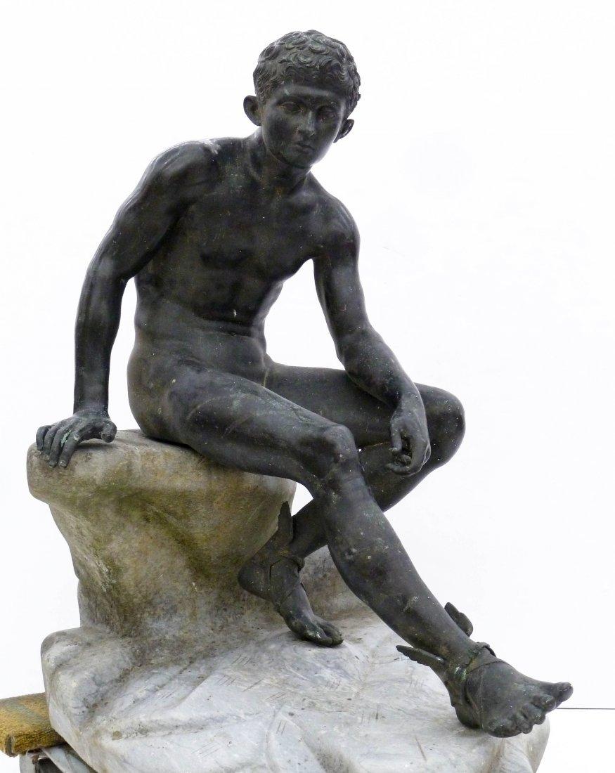 Antique Seated Mercury Bronze Sculpture on Marble Pedes
