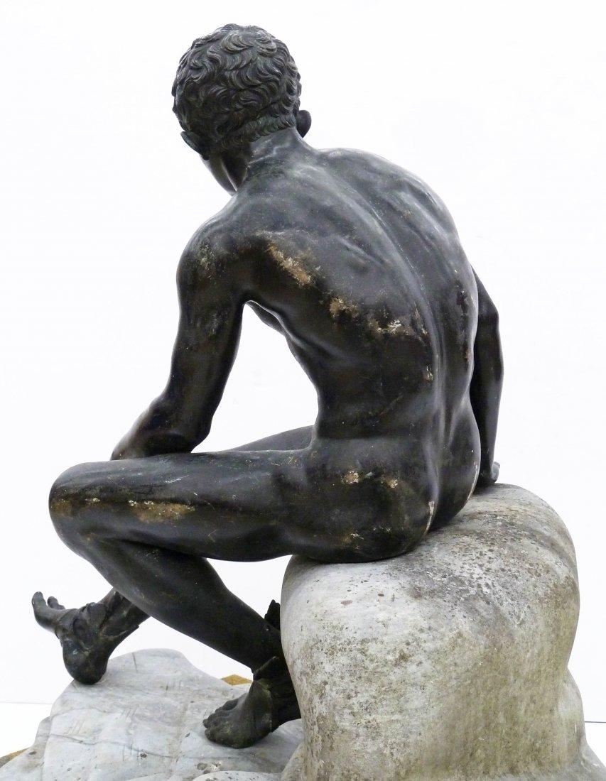 Antique Seated Mercury Bronze Sculpture on Marble Pedes - 2