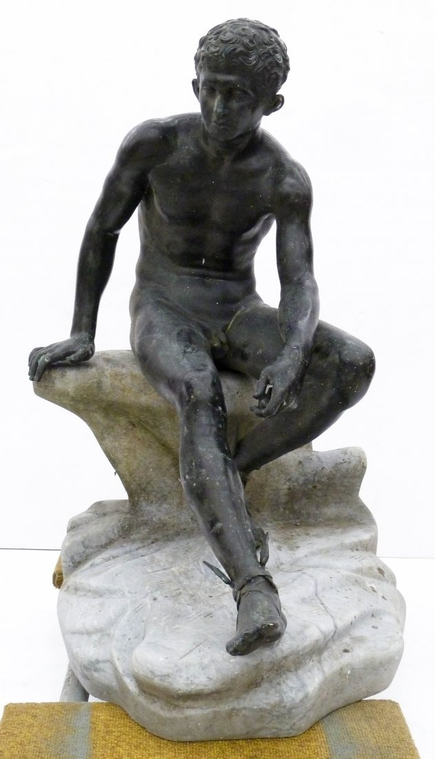 Antique Seated Mercury Bronze Sculpture on Marble Pedes - 3
