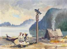 Harvey Goodale (1900-1980 Alaska) Natives with Totem