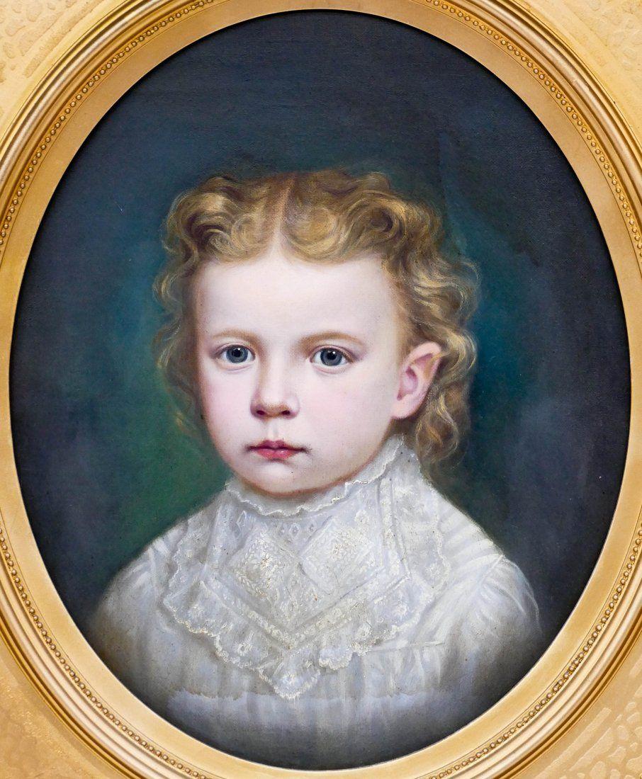 Louis Lussier (1832-1884 American) Little Girl Portrait