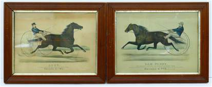 Pair Antique Currier  Ives Harness Racing Lithographs
