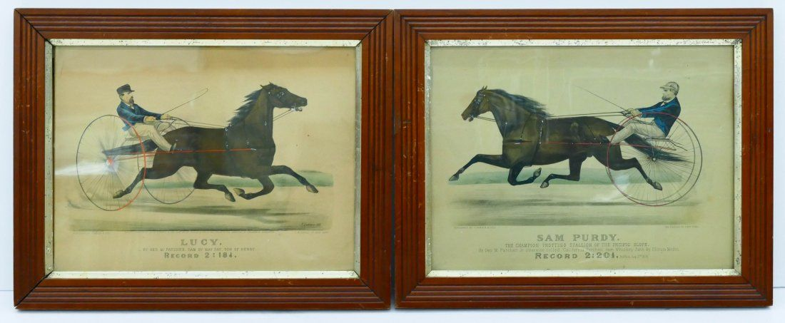 Pair Antique Currier & Ives Harness Racing Lithographs