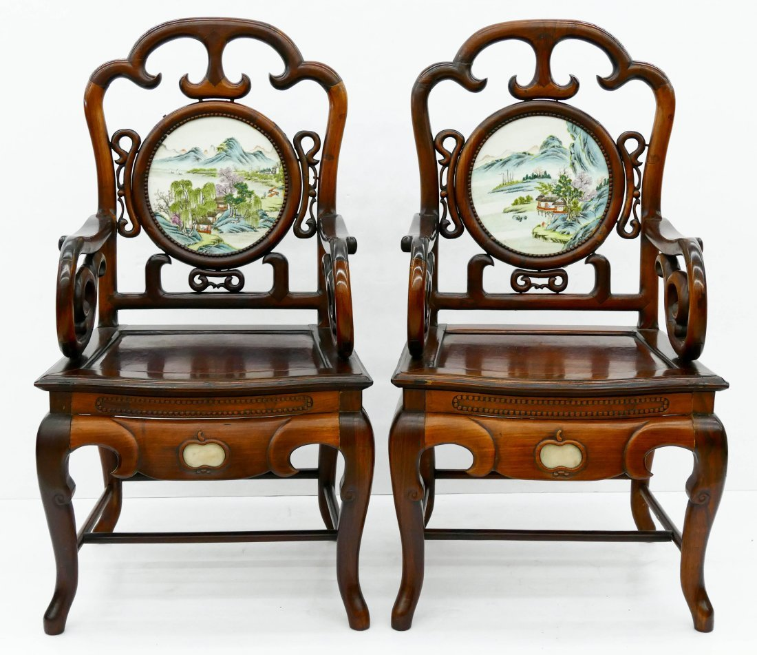Pair of Chinese Rosewood Armchairs with Porcelain