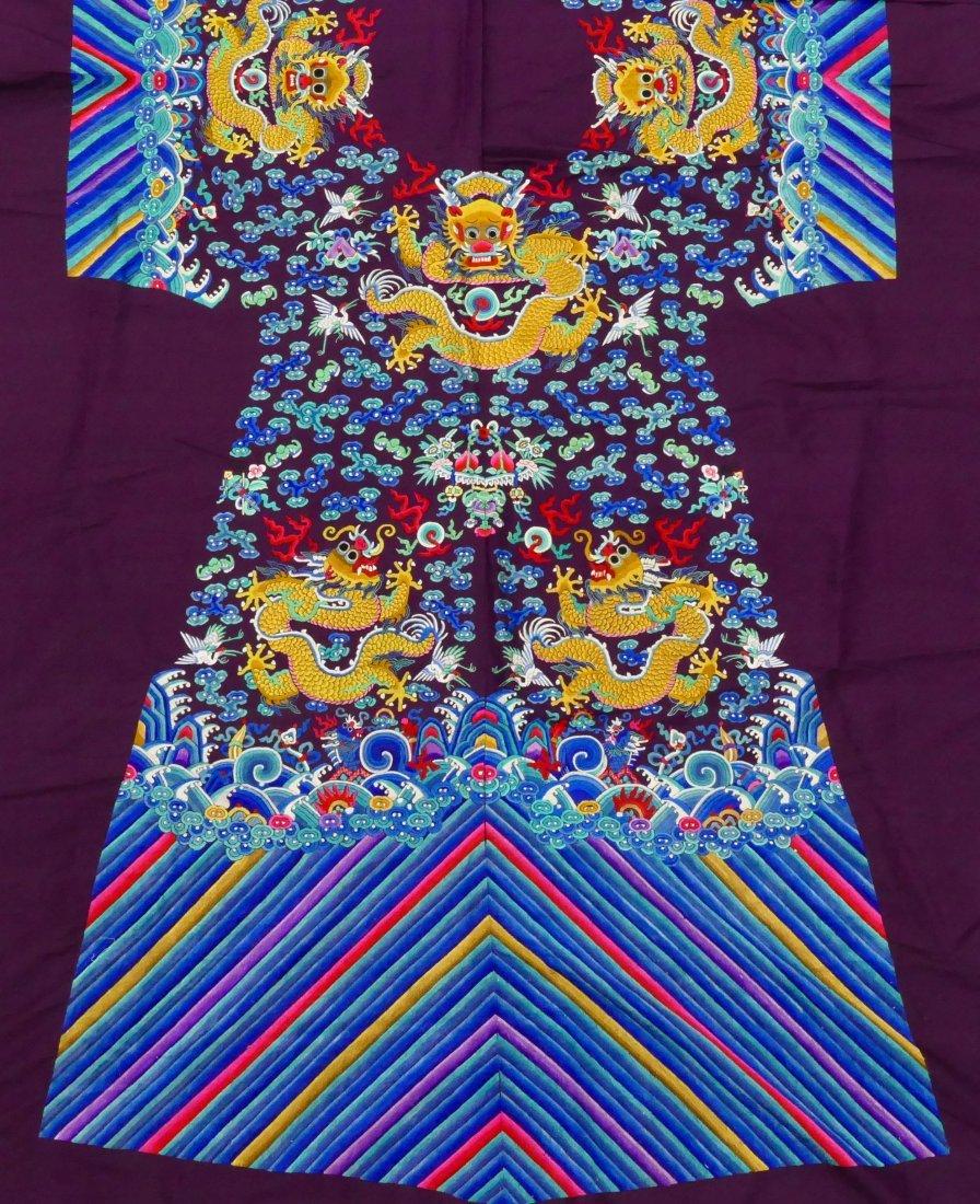 Impressive Chinese Imperial Dragon Uncut Silk Robe