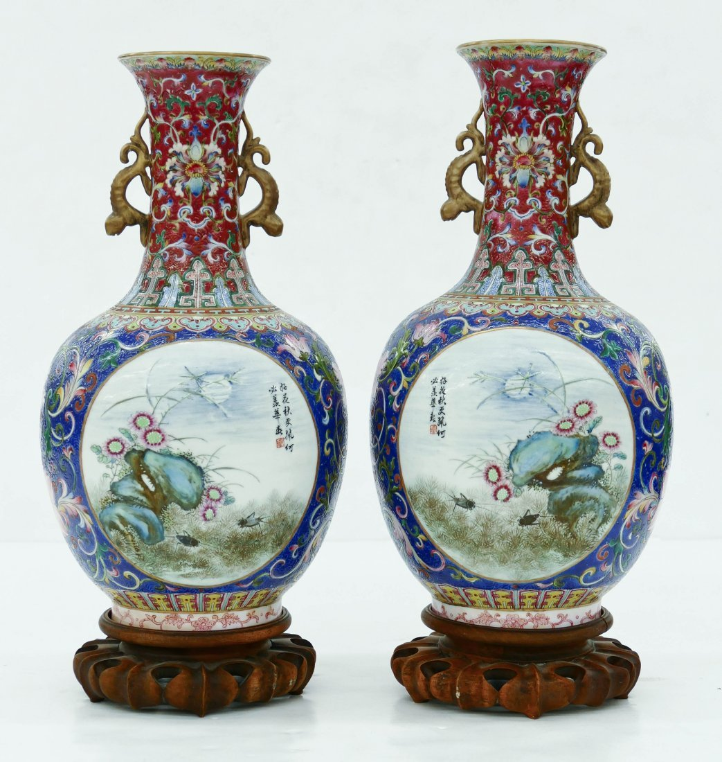 Pair of Fine Chinese Famille Rose Porcelain Vases