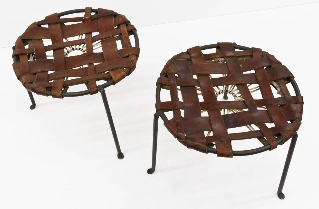 Lila Swift & Donald Monell Pair of Leather Stools