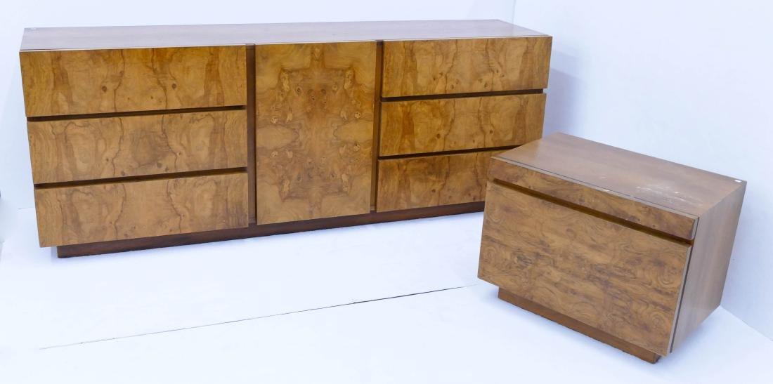 2pc Milo Baughman for Lane Olive Burl Wood Dresser &