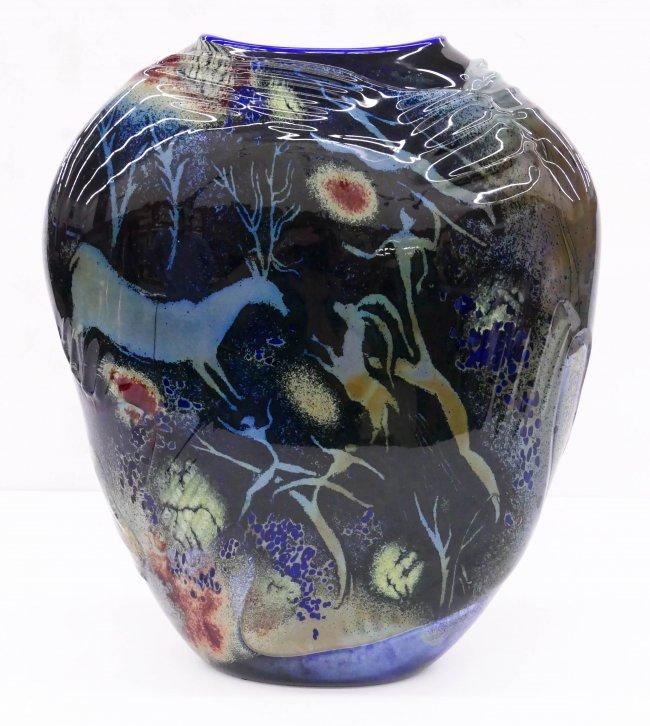 William Morris (b.1957 American) Petroglyph Vase 1988 B
