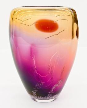 Buzz Blodgett (b.1951 American) Sunset Vase 2000 Blown