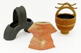 3pc Contemporary Studio Ceramic Vessels. Includes a