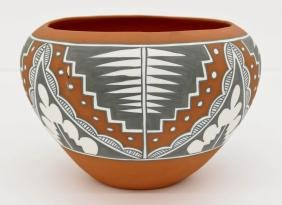 Mary Small Jemez Pottery Bowl 6''x9''. Polychrome