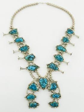 Gomez Navajo Silver & Turquoise Squash Blossom 26''.