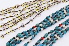 2pc Southwest Turquoise & Shell Heishi Necklaces.
