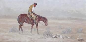 Fred Oldfield (b.1918 Washington) Drifter on Horseback