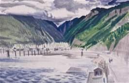 Milford Zornes (1908-2008 American) Harbor Scene 1948