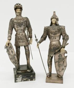 Pair Antique Hanau German Silver Knight Models. Two 800