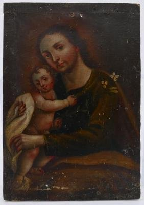 Spanish Colonial Christ with Child Oil on Canvas