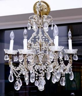 French Crystal Chandelier 22''x20''. Hanging light