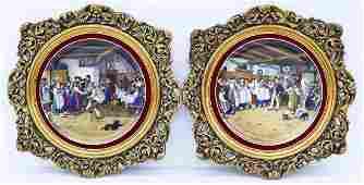Pair Antique German Porcelain Framed Chargers 23''x23''