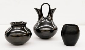 3pc Southwest Mata Ortiz Blackware Pottery. Includes a