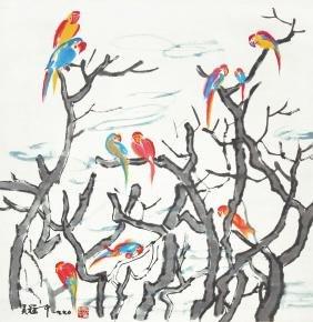 Wu Guanzhong Cockatiel Perched at Tree Top