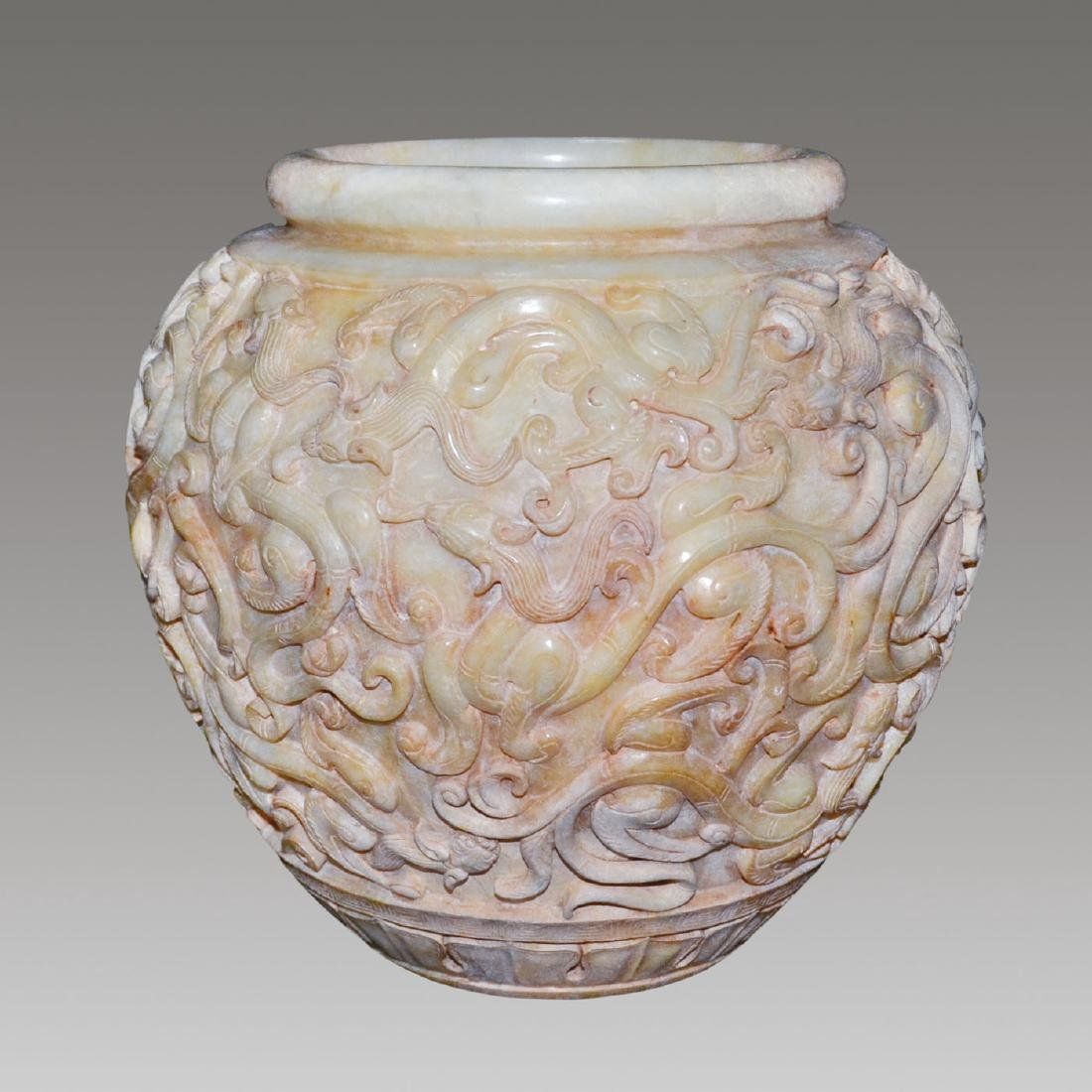 Han, A Magnificent and Very Rare Jade Jar carved with