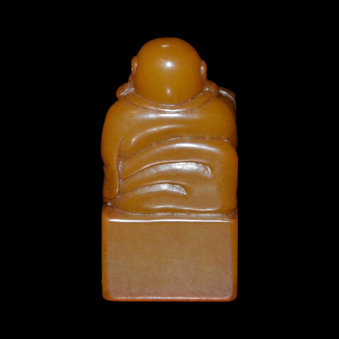 A Tianhuang Square Seal with Maitreya Knob - 3
