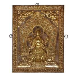 13th/14th Century, Tibetan Gilt Bronze Frieze with